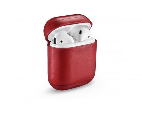 Чехол Premium кожаный для Apple Airpods, (красный)