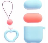 Love Series с брелком для Apple Airpods 1/2, (розовый, голубой)
