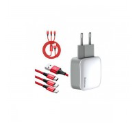 Letour Dual U Charger 3-in with 1 cable Apple Micro Type-C 3.1 A
